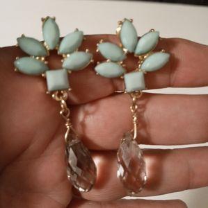 Baby Blue Goldtone crystal Earings